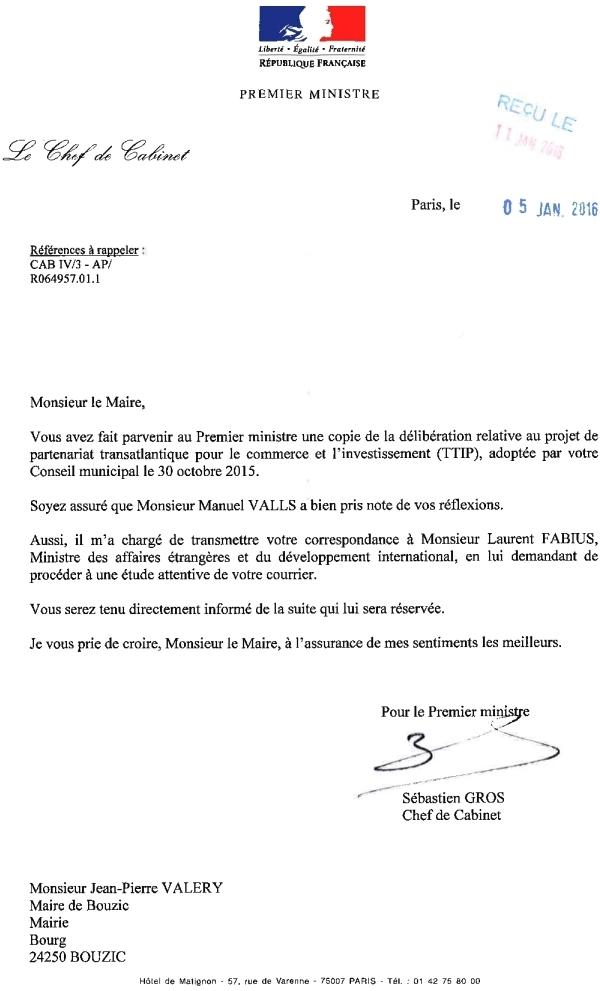 Bouzic hors tafta r ponses des autorit s fran aises et - Cabinet du ministre des affaires etrangeres ...
